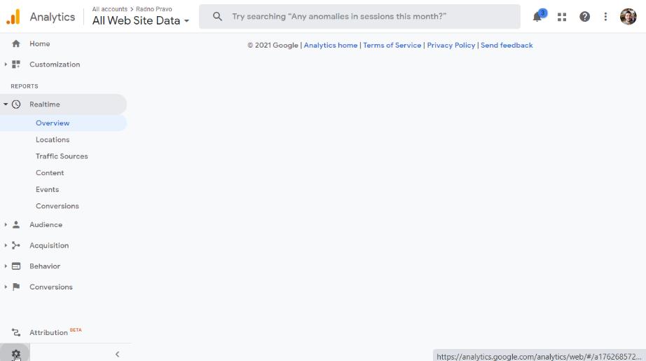 Google Analytics admin sekcija
