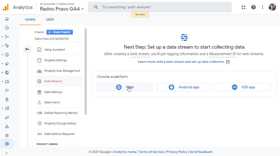 Google Analytics 4 Data Stream