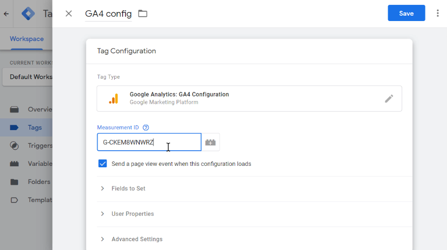 Google Tag Manager Measurement id