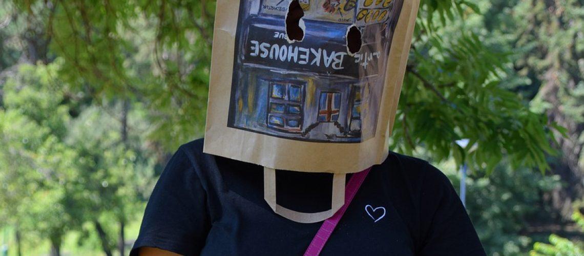 woman, paper bag, purse